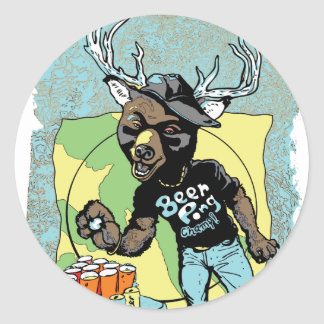 Beer? Pong Funny Beer Deer Hybrid Sticker