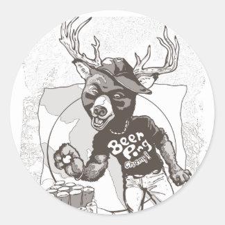 Beer? Pong Funny Beer Deer Hybrid Round Sticker