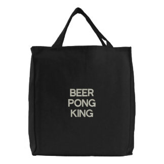 BEER PONG KING EMBROIDERED TOTE BAG