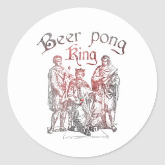 Beer Pong Kings Classic Round Sticker