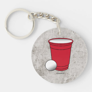 Beer Pong Pocket Single-Sided Round Acrylic Keychain