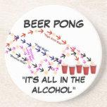 Beer Pong Slogan Beverage Coaster
