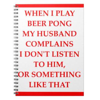 beer pong spiral notebook