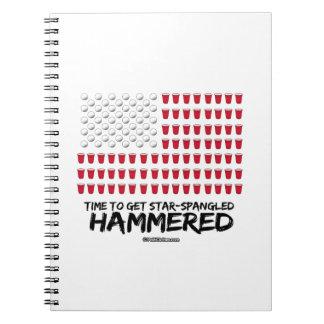 Beer Pong -Time to get star-spangled hammered Spiral Notebook