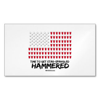 Beer Pong -Time to get star-spangled hammered Magnetic Business Cards (Pack Of 25)