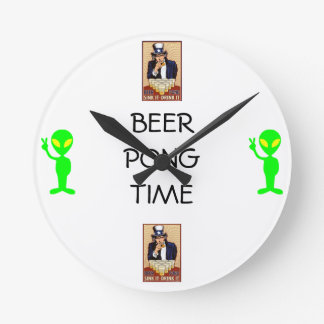 Beer Pong Time Wall Clock with Uncle Sam and Alien