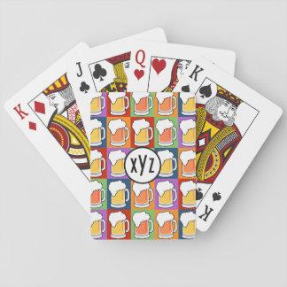 BEER Pop Art custom monogram playing cards