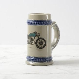beer potsherd with a bar racecar driver in blue beer stein
