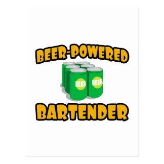 Beer-Powered Bartender Postcard