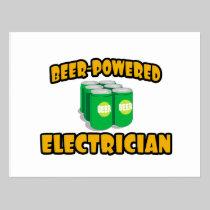 Beer-Powered Electrician Postcard