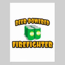 Beer-Powered Firefighter Postcard