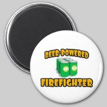 Beer-Powered Firefighter Refrigerator Magnet