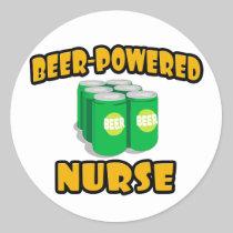 Beer-Powered Nurse Round Stickers