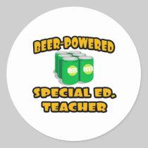 Beer-Powered Special Ed. Teacher Round Sticker