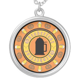 Beer, Pretzels, Stein Silver Plated Necklace