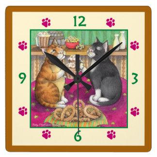 Beer Pub Cats Square Wall Clock