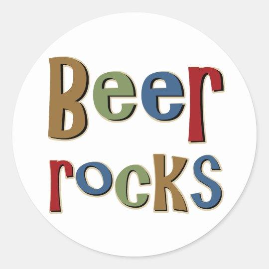 Beer Rocks Classic Round Sticker