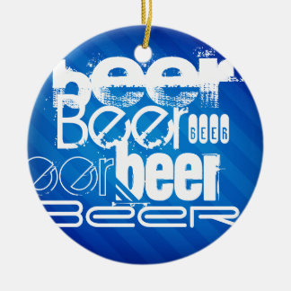 Beer, Royal Blue Stripes Double-Sided Ceramic Round Christmas Ornament