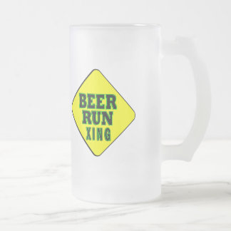 Beer Run Crossing Frosted Glass Beer Mug