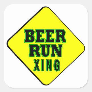 Beer Run Crossing Square Sticker
