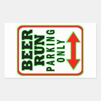 Beer Run Parking Only Rectangular Sticker