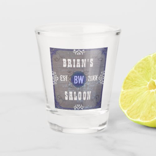 Beer Saloon Rustic Wood Old Western Wild West Name Shot Glass