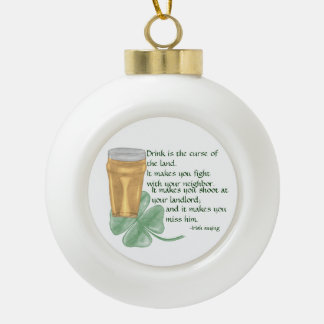 Beer & Shamrock/Irish Saying Ornament