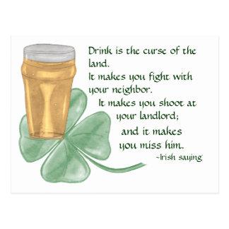 Beer & Shamrock/Irish Saying Postcard