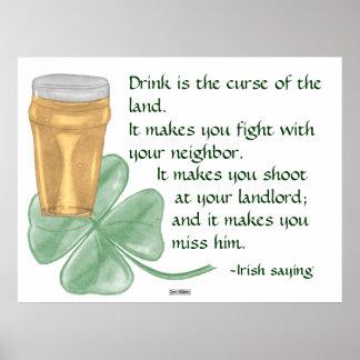 Beer & Shamrock/Irish Saying Poster