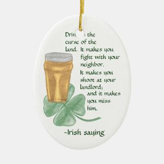 Beer & Shamrock/Irish Saying (St Patrick's Day) Christmas Tree Ornaments