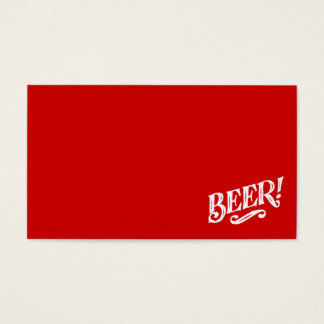 BEER SHOUTOUT RED WHITE BAR BEVERAGE ALCOHOLIC LOG BUSINESS CARD
