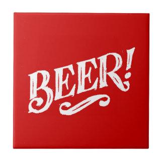 BEER SHOUTOUT RED WHITE BAR BEVERAGE ALCOHOLIC LOG CERAMIC TILE