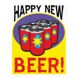Beer six pack for party animal: Happy New Year Postcard