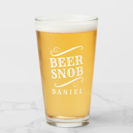 Beer Snob Personalized Craft Beer Drinking Glass