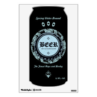BEER! Spring Water Brewed Lite Blue & Black Wall Decal