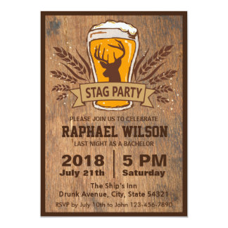 Beer & Stag Graining Bachelor Party Card