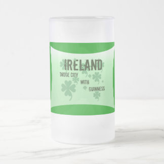 Beer Stein by Janz Ireland 16 Oz Frosted Glass Beer Mug