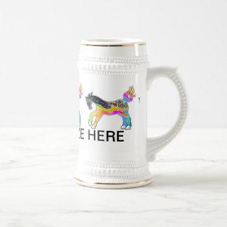 BEER STEIN, Pop Art HORSES 18 Oz Beer Stein