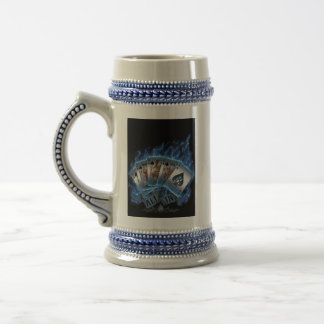 Beer Stein - Royal Flush with Blue Flames 18 Oz Beer Stein