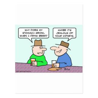 beer stomach growl jealous kidneys postcard