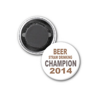 Beer Straw Drinking Champion Magnet