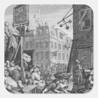Beer Street, 1751 Square Sticker