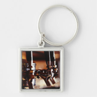 Beer Taps Silver-Colored Square Keychain