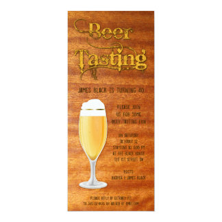 Beer Tasting Birthday Party Invitation - Woodgrain