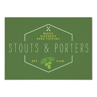 Beer Tasting Party Signage, Stouts & Porters 5x7 Paper Invitation Card