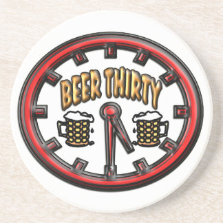 """""""Beer Thirty"""" Clock Drink Coaster"""