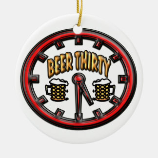 """Beer Thirty"" Clock Double-Sided Ceramic Round Christmas Ornament"