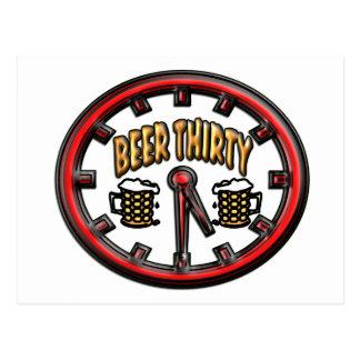 """""""Beer Thirty"""" Clock Postcard"""