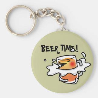Beer time basic round button keychain