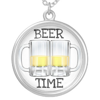 BEER TIME MUGS PRINT SILVER PLATED NECKLACE
